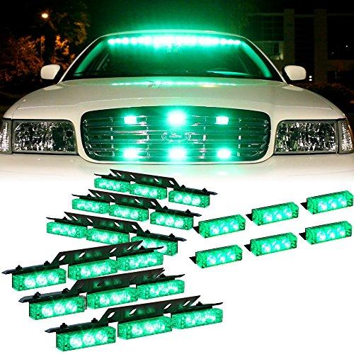 Green 54X Led Emergency Vehicle Dash Grill Deck Warning Strobe Lights - 1 Set