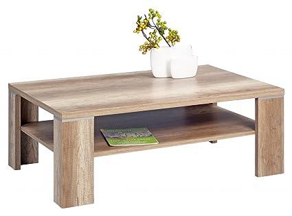 Dreams4Home Couchtisch 'Shanghai' Holz Wildeiche Truffel 110x70 cm Tisch Beistelltisch Sofatisch Ablägefläche Wohnzimmertisch