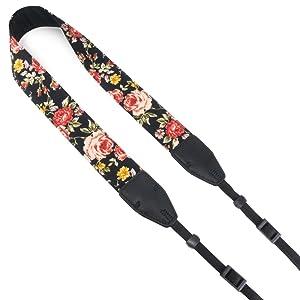 Wolven Pattern Cotton Camera Neck Shoulder Strap Belt Compatible for DSLR/SLR/Men/Women etc, Black Rose (Color: Black Rose, Tamaño: Medium)