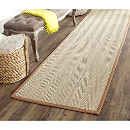 Safavieh Natural Fiber Collection NF115B Natural and Brown Seagrass Runner, 2 feet 6 inches by 6 feet (2\'6\
