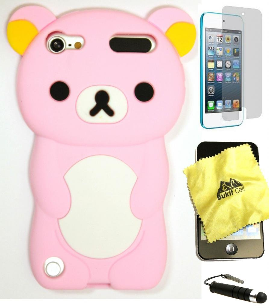 BUKIT CELL (TM) BABY PINK Bear 3D Cartoon Soft Silicone Skin Case Cover for IPOD TOUCH 5 5G 5TH GENERATION + BUKIT CELL Trademark Lint Cleaning Cloth + Screen Protector + WirelessGeeks247 METALLIC Touch Screen STYLUS PEN with Anti Dust Plug [bundle - 4 i hhi ipod nano 6th generation silicone looper skin case yellow