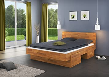 Einzelbett / Funktionsbett Medin 5 inkl. 4 Schubladen, Wildeiche Vollholz massiv geölt - Liegefläche 140 x 200 cm