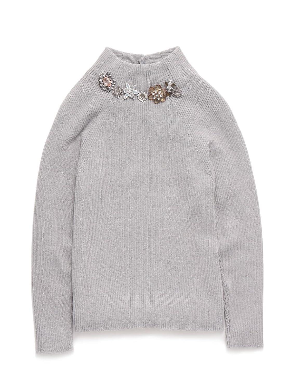 (スナイデル)snidel ビジュー付ニット SWNT155076 6 GRY F : 服&ファッション小物通販 | Amazon.co.jp