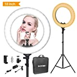 Zomei Ring Light 18 inch Ring Light with Stand, LED Dimmable 50W 3200-5500K Carrying Bag for Camera Smartphone, You Tube,Self-Portrait Shooting Good for Beauty Facial Make Up Live Stream (Tamaño: 18inch)