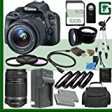Canon EOS Rebel SL1 Digital SLR Camera Kit with 18-55mm STM Lens and Canon 55-250mm STM Lens + 32GB Green's Camera Package 2