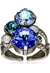 "Sorrelli ""Electric Blue"" Crystal Assorted Rounds Ring, Size 7-9"