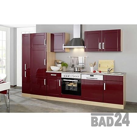 Kuchenblock 310 Vario ohne E-Geräte mit Apothekerschrank Hochglanz Bordeauxrot/Buche