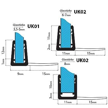 UK06 200cm Joint d/étanch/éit/é de rechange pour verre de douche d/épaisseur 3,5mm// 4mm// 5mm UPS protection surtensions de cabine de douche
