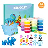 ESSENSON Modeling Clay Kit - 24 Colors Air Dry Ultra Light Magic Clay, Soft & Stretchable DIY Molding Clay with Clay Tools, Animal Accessories and Easy Storage Box Best Crafts Gifts for Kids/Adults (Color: Clay)