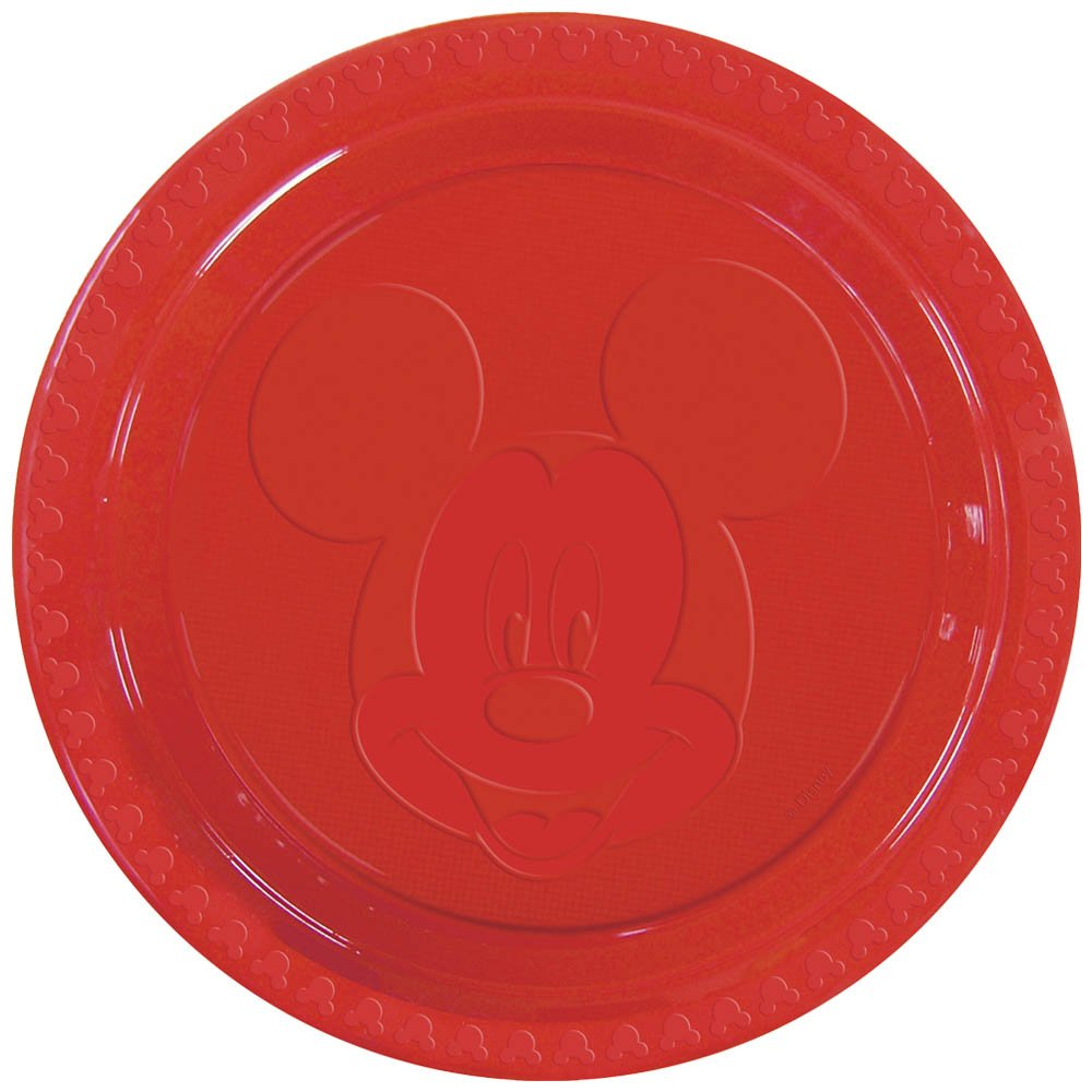 6 Disney Mickey Mouse FACE Large RED Embossed 9  Disposable Plastic Plates 9  Diameter features a stylish silhouette of Mickey Mouseu0027s face embossed into ...  sc 1 st  Birthday Wikii & Mickey Mouse Birthday Party Plates | Birthday Wikii