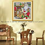 Anself 3232cm DIY Handmade Counted Cross Stitch Needlework Set Embroidery Kit the Workroom of Santa Claus Home Decoration 14CT
