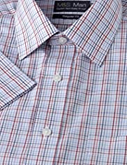Cotton Rich Easy to Iron Short Sleeve Checked Shirt