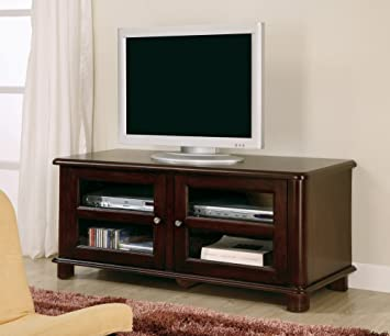 Coaster 700610 Contemporary TV Stand with Glass Doors, Cappuccino Finish