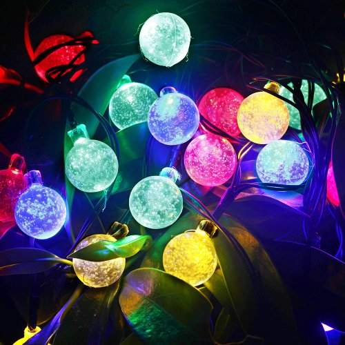 M&T Tech Solar Powered 20 Led Round Ball String Lights For Outdoor Garden Patio Lawn Christmas Party Fence Window-Multi Color