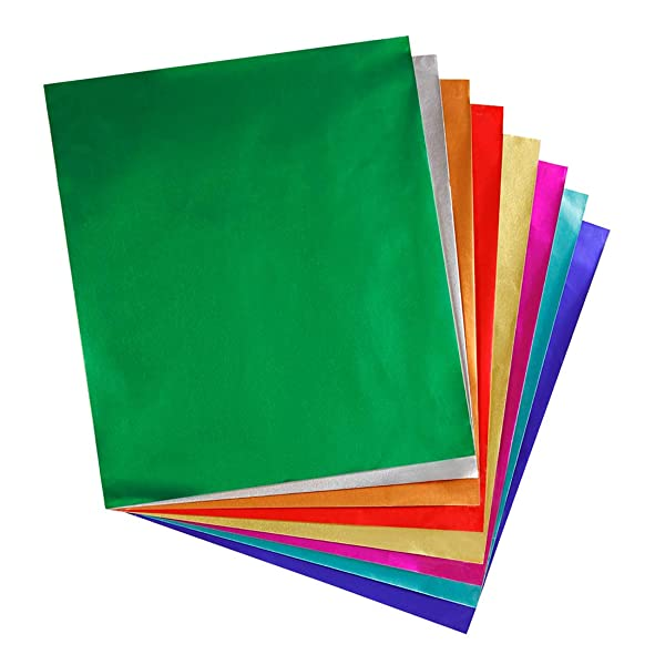 Hygloss Products Metallic Foil Paper Sheets - 8 Assorted Colors, 8 1/2 x 10, (12 Packs of 24) Bulk Pack- 288 Sheets