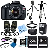 Canon EOS Rebel T5 18MP DSLR Camera Ultra 3 Lens Bundle Includes: Rebel T5 Digital Camera, EF-S 18-55mm IS II lens, Pro 2x Telephoto Lens Converter, Pro .45x Wide Angle Lens w/ Macro, Flash, 59 Tripod, Carry Case, 16GB & 8GB Memory Cards, Filters & more