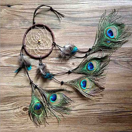 Dremisland Handmade Indian Peacock Dreamcatcher Wind Chimes Indian Style Feather Pendant Car Hanging gift