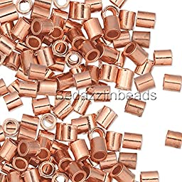 100 Pure Copper Crimp Tube Beads Findings for Ending Beading Cord & Wire Ends (2mm x 2mm)