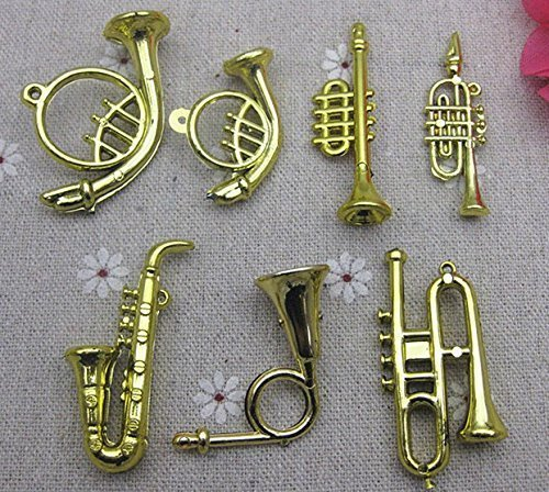 Ursmile Musical Instrument Ornaments Gold Gift or Decoration (Pack of 7pcs)