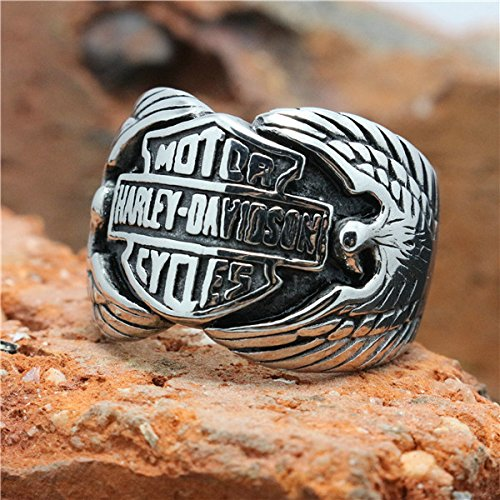 Motorcycle Sliver Eagle Biker Ring 316L Stainless Steel Top Quality Animal Eagle Motorbiker Ring 11