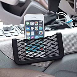 Stretchable Car Item Organizer Universal Side Seat Net Bag Useful Black Mesh Pocket Self Adhesive Phone Holder