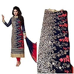 RADHEY ARTS BLUE AND RED EMBROIDERED GEORGETTE UNSTITCHED PATIYALA DRESS MATERIAL