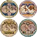 """CoasterStone AS285 Absorbent Coasters, 4-1/4-Inch, """"Old World Maps"""", Set of 4"""
