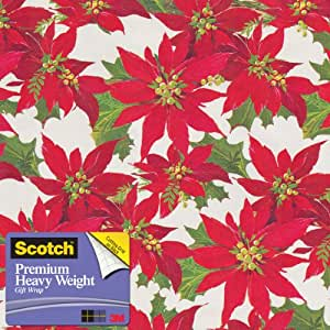 Scotch  Gift Wrap, Upscale Poinsettia Pattern, 25-Square Feet, 30-Inch x 10-Feet (AM-WPUP-12)