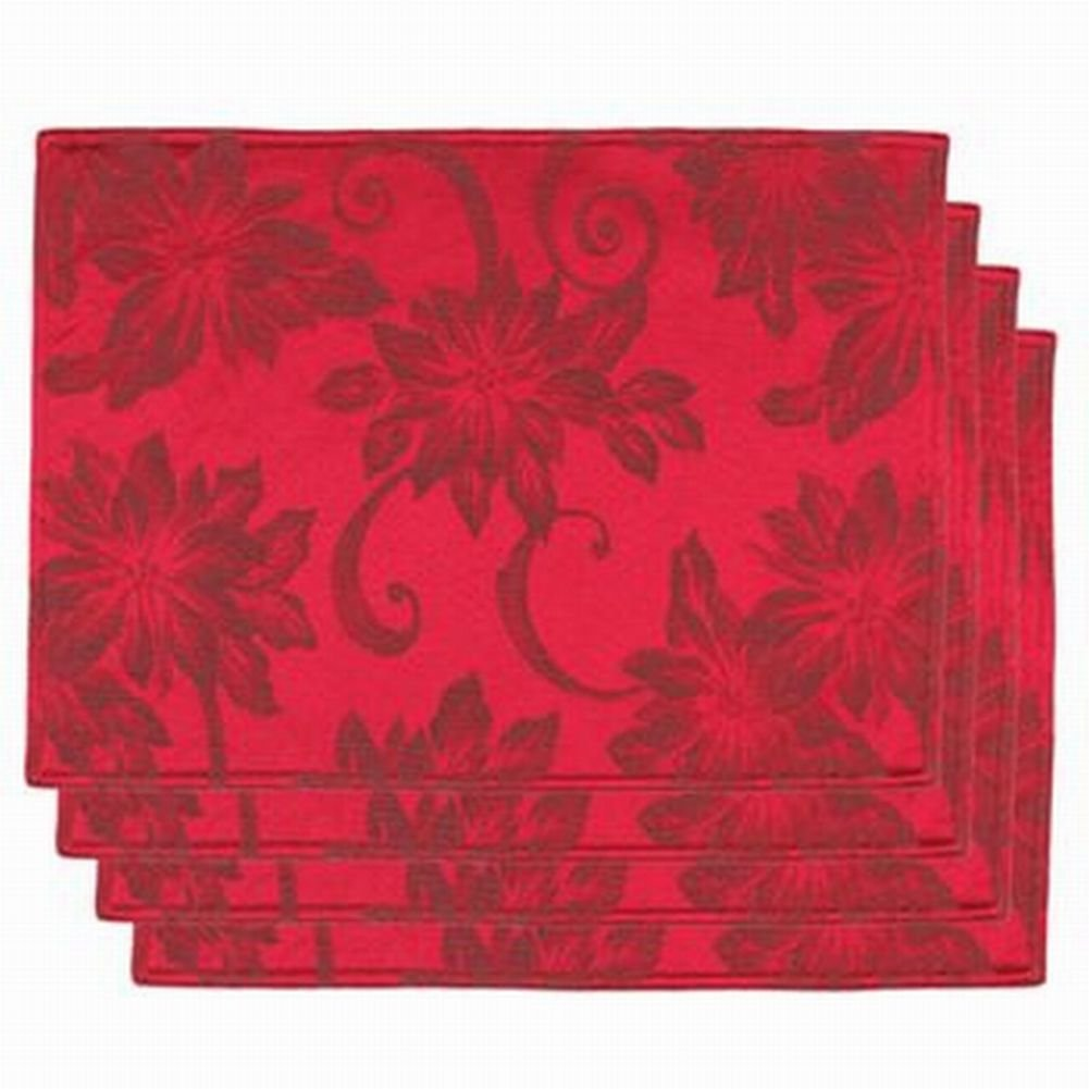 Poinsettia table placemats christmas wikii for Table placemats