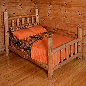Queen Camouflage Camo Sherpa and Queen Camo Camouflage Sheet Set (Queen, Orange Camouflage)
