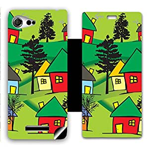 Skintice Designer Flip Cover with a hi-res printed Vinyl Wrap-around for Sony Xperia E3 , Design - Hut Painting