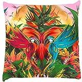 Snoogg Digital Bird Graphic Cushion Cover Throw Pillows 16 X 16 Inch