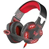 BENGOO Gaming Headset Comfortable 3.5mm Stereo Over-Ear Headphone Headband with LED Lighting for PC Computer Game with Noise Isolation & Volume Control - Red (Color: Red)