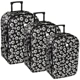 Karabar Super Lightweight Set of 3 Expandable Suitcases - 3 Years Warranty! (Swirl Black)