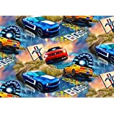 New! Fleece Ford Mustang Cars Allover Fleece Fabric Print by the Yard o1413s