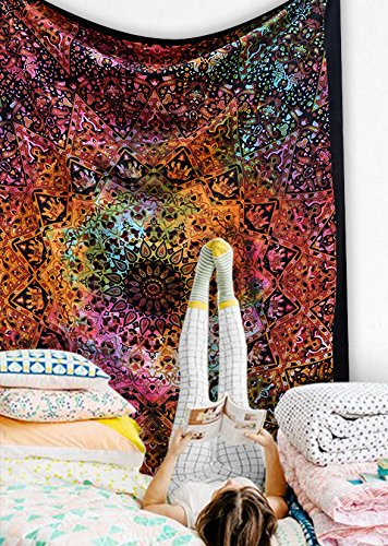 Popular-Handicrafts-Tie-Dye-Hippie-Kaleidoscopic-Star-Intricate-Floral-Design-Indian-Bedspread-Good-Luck-Marshala-54x84-Inches140cmsx215cms-Tye-Dye-Multi-Color