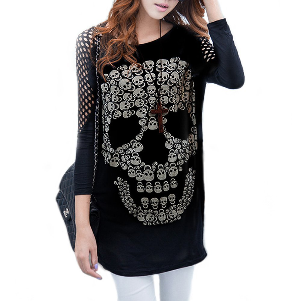 Womens Intensive Skull Hollow Sleeve Blouses Tops
