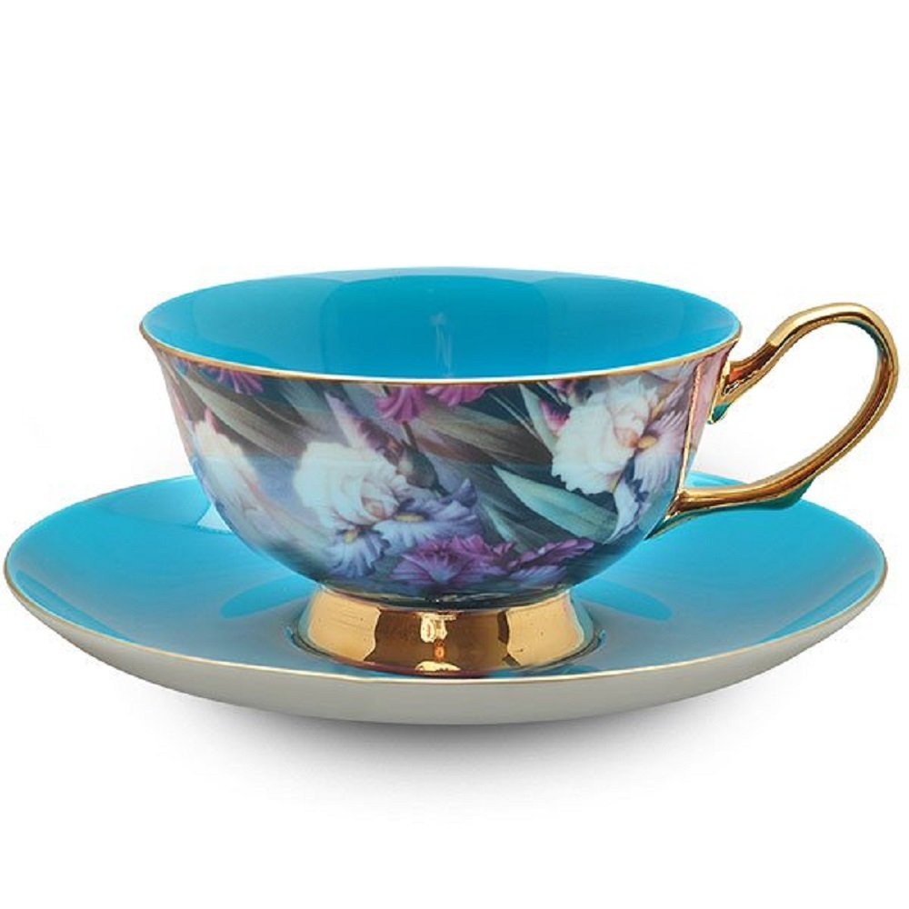 satin shelley turquoise bone china tea cup and saucer. Black Bedroom Furniture Sets. Home Design Ideas