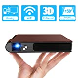 Mini DLP Wireless Pico Projector, 3D Portable WiFi Projector with Rechargeable Battery Auto Keystone/HDMI/USB/TF Card Reader, Compatible with iPhone, Android, Laptop for Home Theater, Outdoor Movies (Color: pico dlp wifi projector)