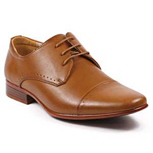 Magestik Men's Perforated Lace Up Cap Toe Oxford Dress Shoes (7.5, Cognac Brown)