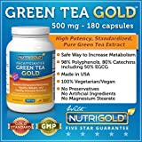 NutriGold Green Tea Extract GOLD 500 mg, 180 Vegetarian Capsules - Decaffeinated Green Tea Fat Burner Supplement for Weight-loss (98% Polyphenols, 50% EGCG)