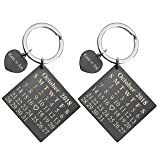 Personalized Master Free Engraving Custom Date Calendar Heart Keychain, Custom Date Pendant Key Ring Lovers Couples Valentine's Day Birthday Anniversary Christmas Special Day Gift (Color: 2pcs Black)