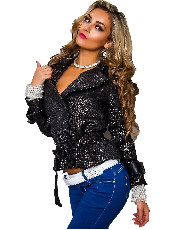 Exklusive Elegante Jacke mit Bindegürtel Schwarz Gold Damenjacke Ärmel Besatz in Leder Optik Gr. S M L jetzt kaufen
