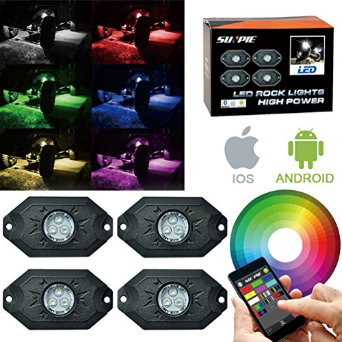 RGB LED Rock Light Kits with Bluetooth Control & Cell Phone Control & Timing & Music Mode & Flashing & Automatic Control & Color Grad Multicolor Neon Lights Under Off Road Truck SUV ATV Motorcycle (Mode Control Motor compare prices)