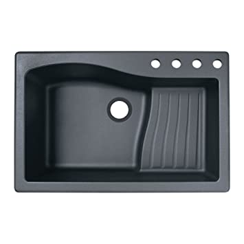 Swaoi|#Swanstone QZ03322AD.077-4 22-In X 33-In Granite Kitchen Sink 4-Hole, Nero,