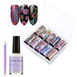 Nail Art Stickers for Women, Nail Art Foil Transfer Roll Set, 10 Colors Flowers Design Manicure Decals Set with Nail Glue&Manicure Stick for Girls, Kids(1.57 inch × 47.24 inch) (Color: Sky_2)