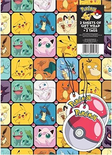 Pokemon Gift Wrap 2 sheets 2 Tags