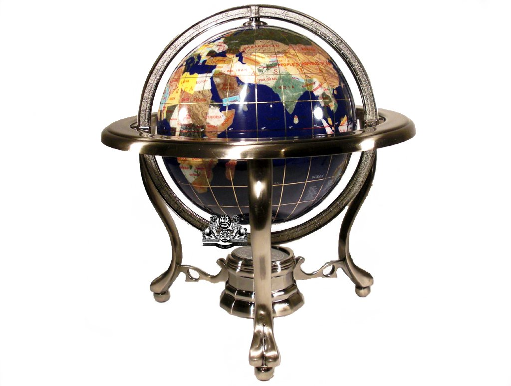 World gemstone globe with stand map globes tall table top blue gemstone world globe silver tripod stand gumiabroncs Images