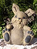 Garden ornament Rabbit sitting, Cast stone, Light brown