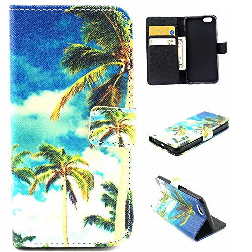iPhone 6S Plus Case, Sophia Shop Folio Book Style Premium PU Leather Flip Wallet Case Kickstand Feature Shockproof Anti-scratch Cover Built-in Card/Cash Slot For iPhone 6S Plus 5.5inch (Coconut Tree)